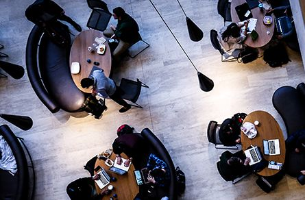 Overhead view of people in cafe