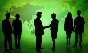 Silhouette of people meeting